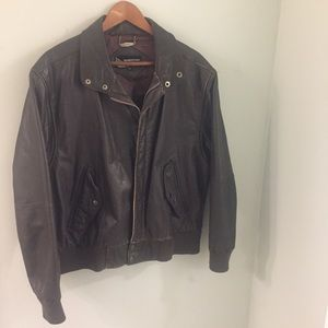 Vintage Members Only Leather Bomber Jacket